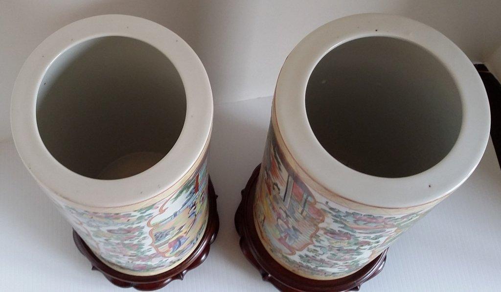 """2- 11"""" Rose medallion brush pot vases on stands - 7"""