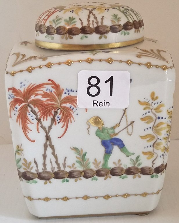 "5"" hand painted French tea jar- Tiffany & Co."