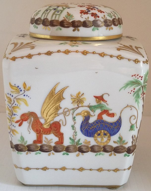 "5"" hand painted French tea jar- Tiffany & Co. - 2"