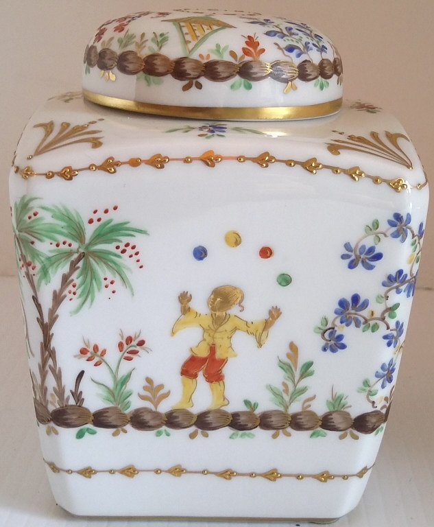 "5"" hand painted French tea jar- Tiffany & Co. - 3"