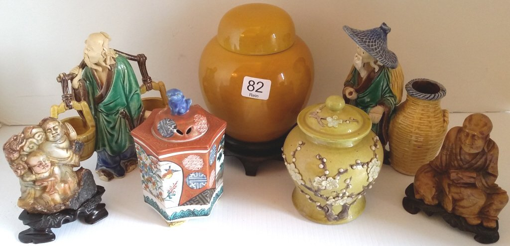 3 Oriental small jars, 2 soapstone carvings & 2 mud