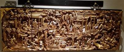 """24""""x 72"""" Chinese carved gilt wood panel"""