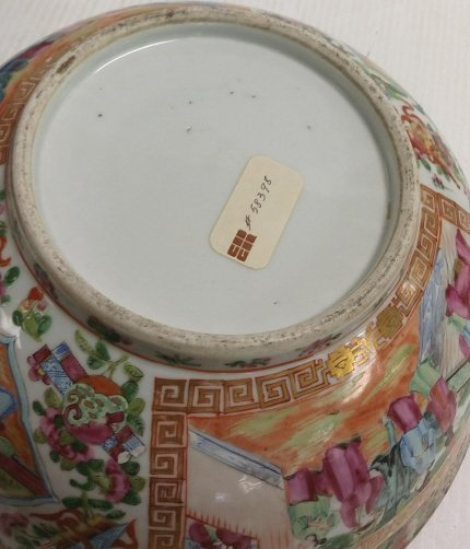 "13"" Rose medallion bowl with stand - 5"