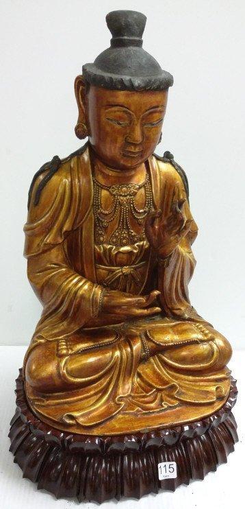 """22"""" carved gilt wood Buddha on stand"""