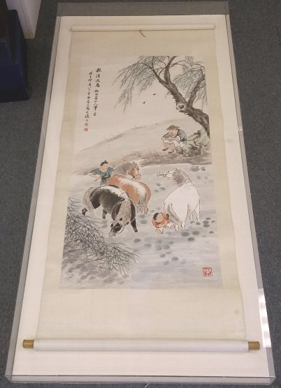"""Lucite framed scroll painting- grooming horses 32""""x 72"""""""