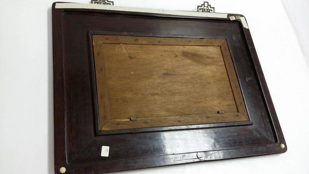 "Framed Chinese porcelain plaque- birds 9 1/2""x 15"" - 6"