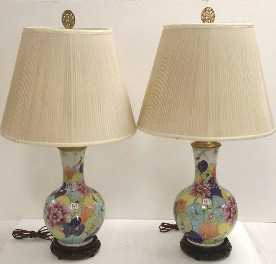"2- 15"" Oriental tobacco leaf lamps"