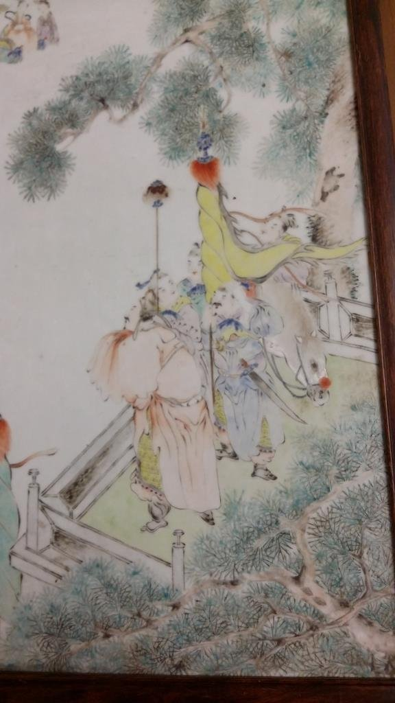 "Framed antique Chinese porcelain plaque- 13""x 18"" - 6"