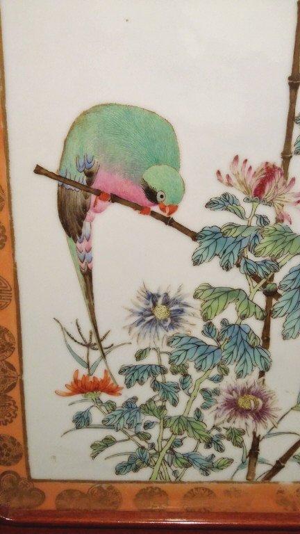 "Framed antique Chinese porcelain plaque- parrot 10""x - 2"