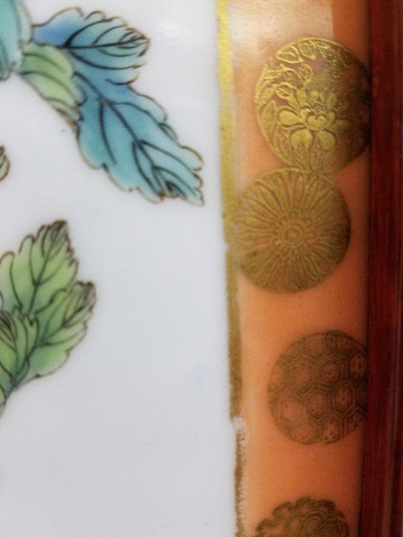 "Framed antique Chinese porcelain plaque- parrot 10""x - 4"