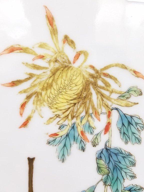 "Framed antique Chinese porcelain plaque- parrot 10""x - 6"