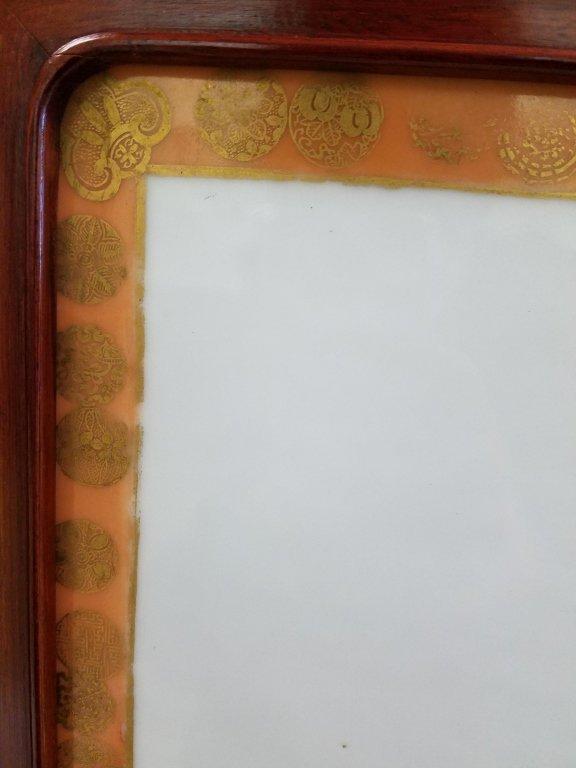 "Framed antique Chinese porcelain plaque- parrot 10""x - 7"