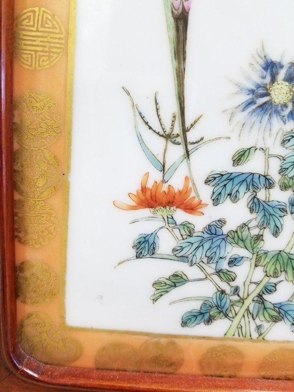 "Framed antique Chinese porcelain plaque- parrot 10""x - 8"