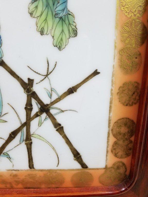 "Framed antique Chinese porcelain plaque- parrot 10""x - 9"