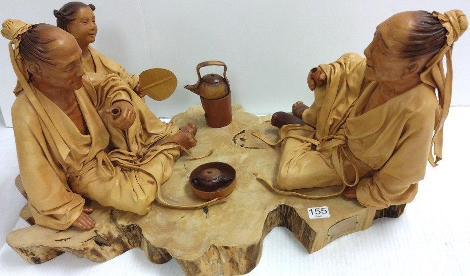 """24""""x 12"""" signed leather sculpture 28/50- Tea Talk"""
