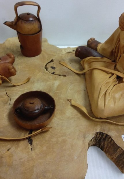 """24""""x 12"""" signed leather sculpture 28/50- Tea Talk - 3"""