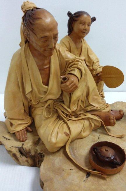 """24""""x 12"""" signed leather sculpture 28/50- Tea Talk - 4"""