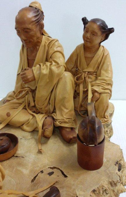 """24""""x 12"""" signed leather sculpture 28/50- Tea Talk - 5"""