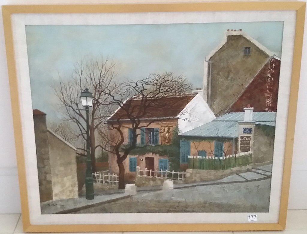 Framed signed Andrew Renoux oil on canvas- street scene