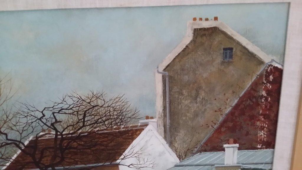 Framed signed Andrew Renoux oil on canvas- street scene - 3