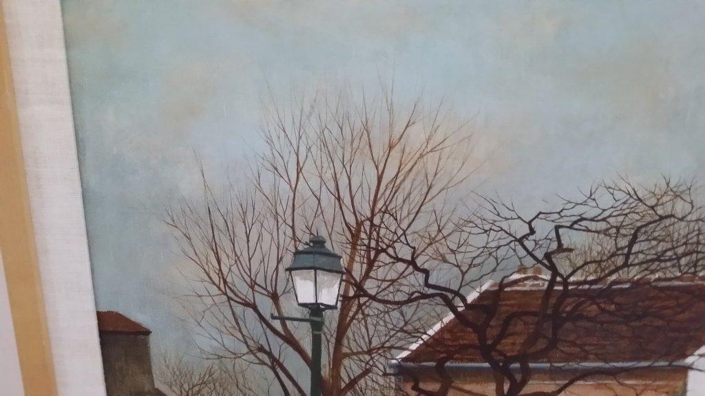 Framed signed Andrew Renoux oil on canvas- street scene - 4