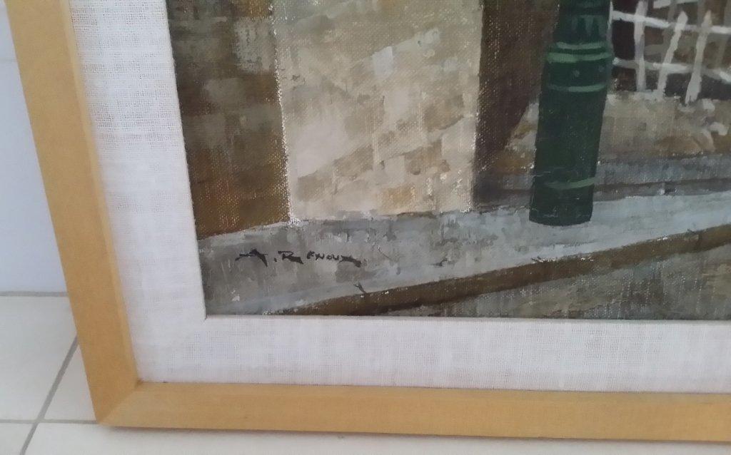 Framed signed Andrew Renoux oil on canvas- street scene - 6