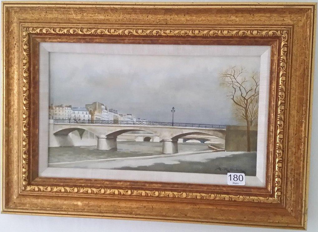 Framed signed Andre Renoux oil on canvas- Paris bridge