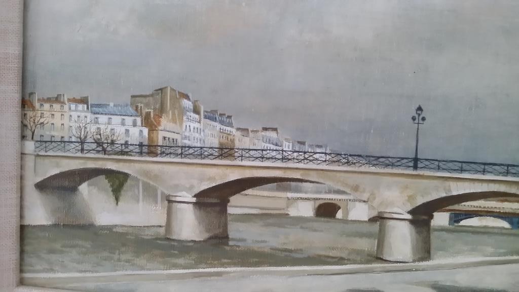 Framed signed Andre Renoux oil on canvas- Paris bridge - 2