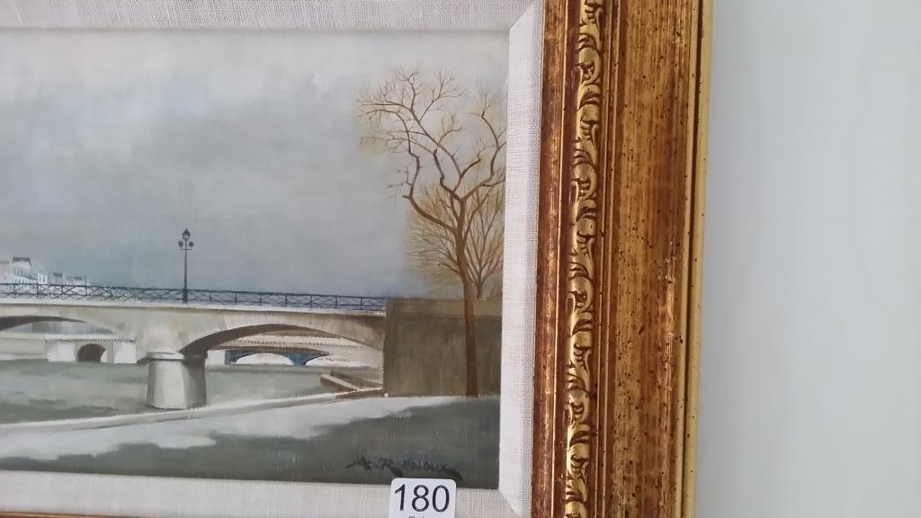 Framed signed Andre Renoux oil on canvas- Paris bridge - 3