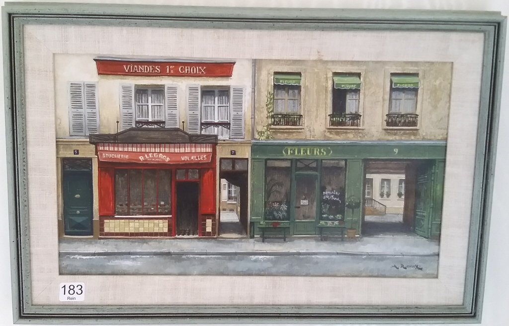 Framed signed Andre Renoux oil on canvas- store front