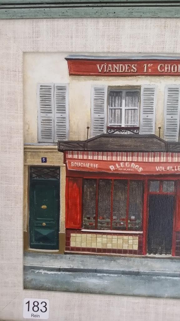Framed signed Andre Renoux oil on canvas- store front - 2