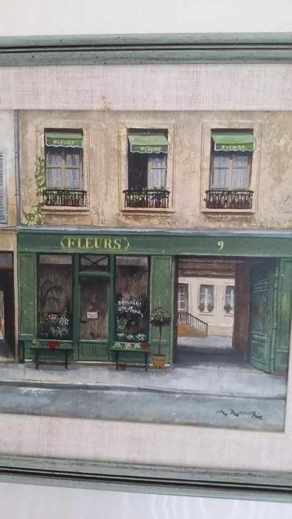 Framed signed Andre Renoux oil on canvas- store front - 4