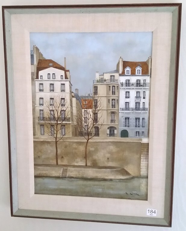 Framed signed Andre Renoux oil on canvas- water front