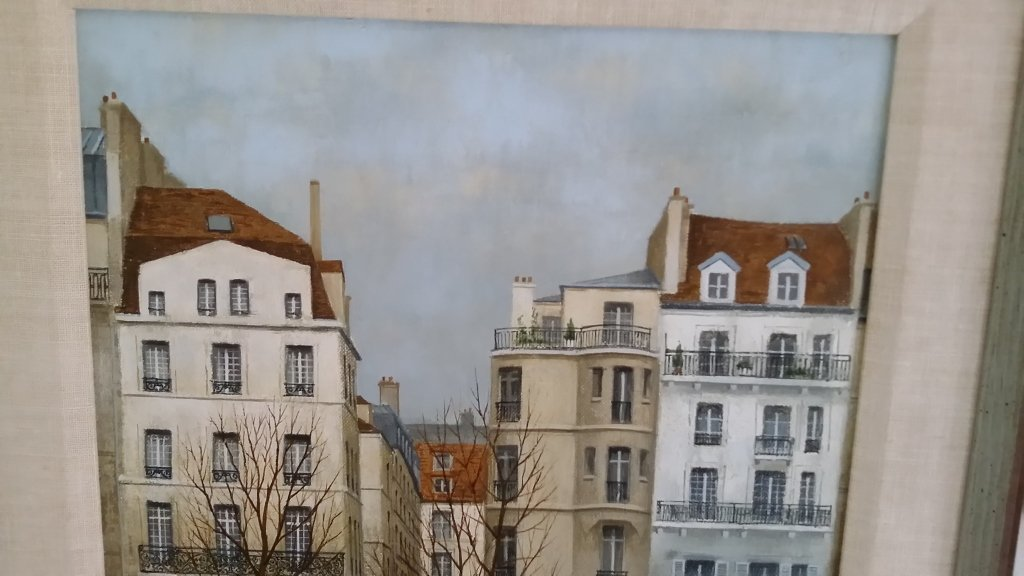 Framed signed Andre Renoux oil on canvas- water front - 2