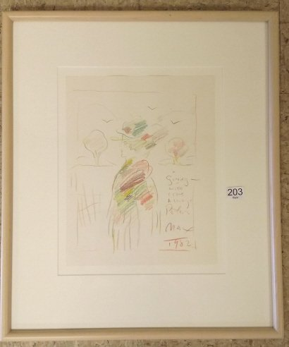 "Framed signed Peter Max colored drawing- 9""x 11 1/2"""