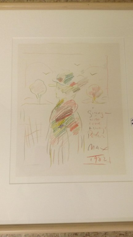 "Framed signed Peter Max colored drawing- 9""x 11 1/2"" - 2"