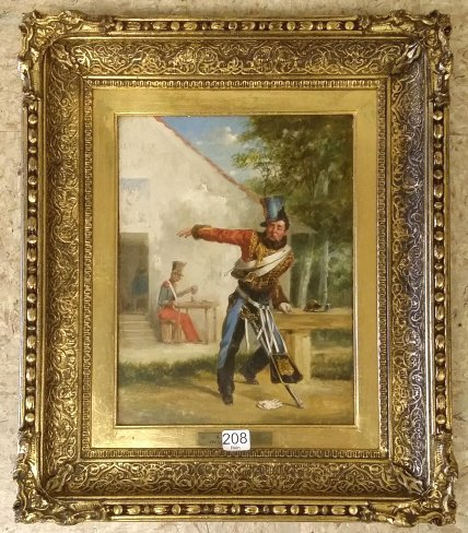Framed with tag A. F. Deprades oil on board- soldier