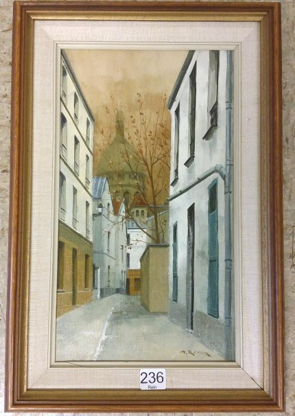 """Framed signed A. Renoux (Andre) oil on canvas- 7 1/2""""x"""