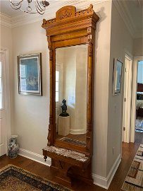 1860s Burled Entry Pier Mirror with Marble