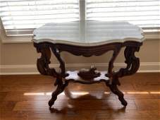 Victorian Walnut Marble Turtle Top Parlor Table
