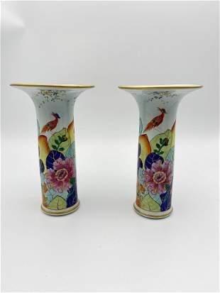 Lowestoft by Mottahedeh Tobacco Leaf Trumpet Vase PAIR