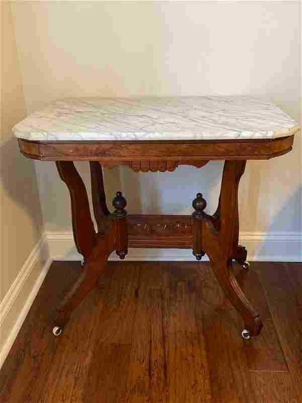 Victorian 1850's Marble Top Parlor Table