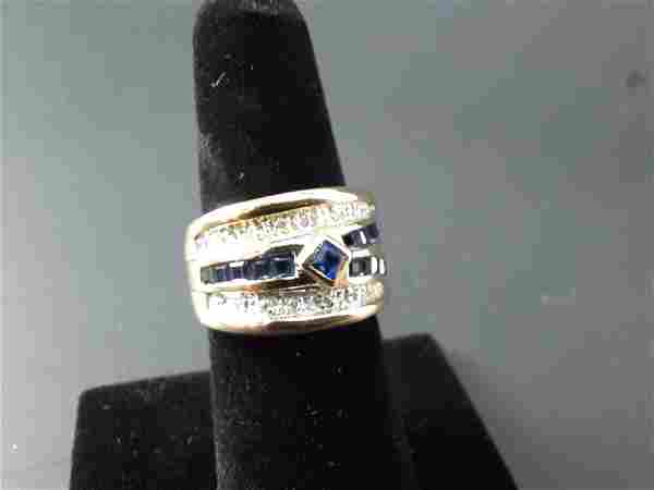 14K Gold Sapphire Diamond Ring Sz. 6.5