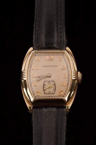 Hamilton Gold Lined Mens Wrist Watch
