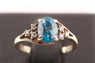 10K Gold & Blue Topaz Ring