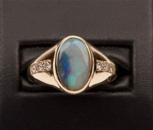 Opal, Diamonds & 18K Yellow Gold Ring