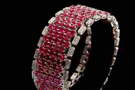 14K White Gold with Nat Ruby & Diamond Bracelet