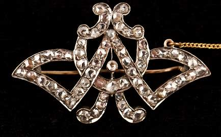 Antique 9K Rose Gold Rose Cut Diamond Brooch