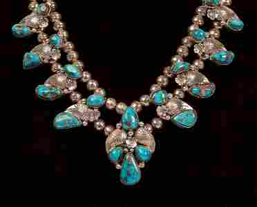 Sterling & Turquoise Navajo Squash Blossom Necklace