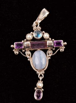 Art Deco Style Sterling Silver & Gemstones Pendant